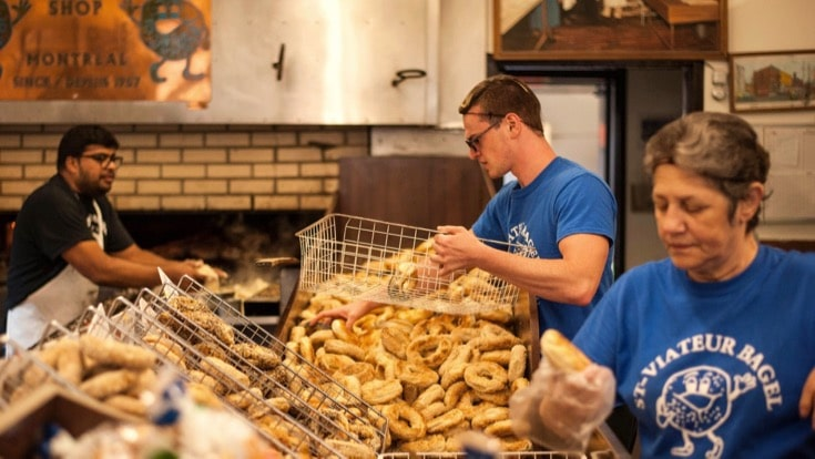 Montreal Bagels being sorted for the food tour