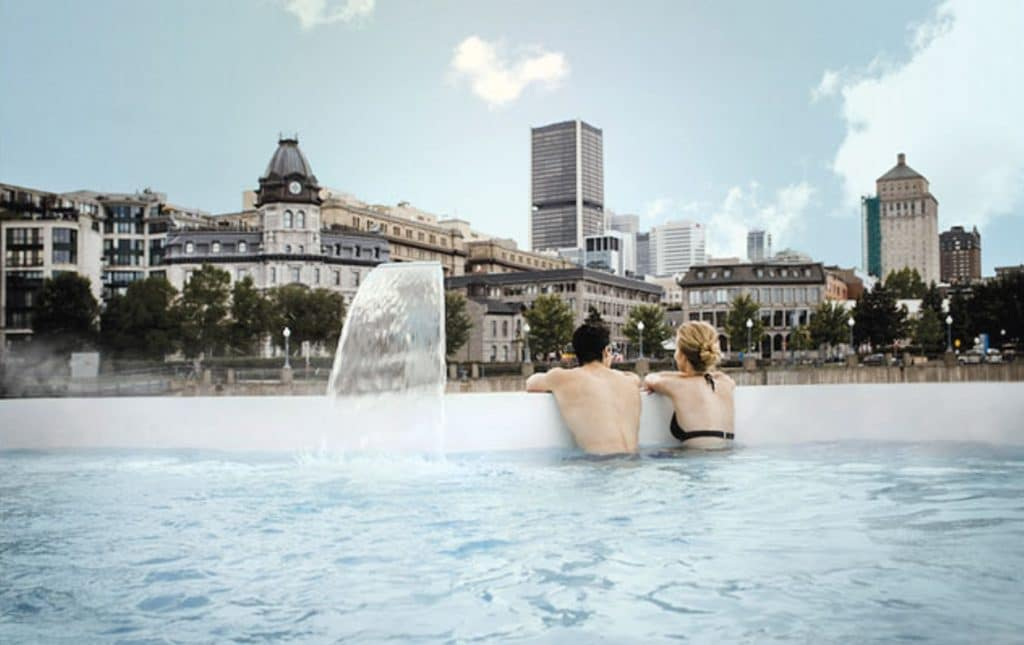 couple in pool at bota bota spa in montreal