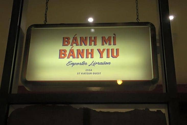 Exterior sign of Banh Mi Banh Yiu restaurant in Mile End