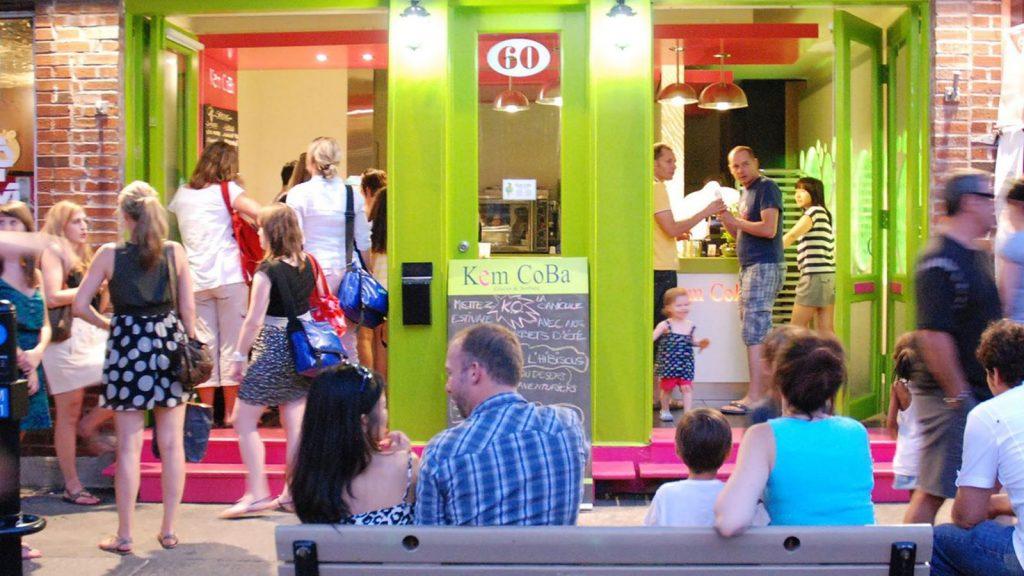 ice cream shop full of people