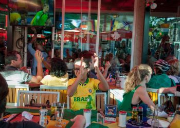 brazil fans at cafe diplomatico little italy toronto