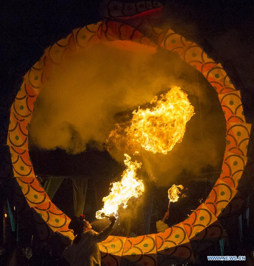fire breathing at solstice festival in kensington market toronto