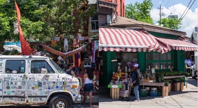 kensington market vendors and cars