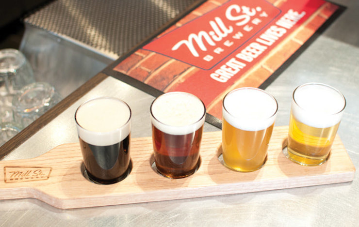 Old Toronto Beer Tour Mill St Brewery flight Toronto Walking Tours