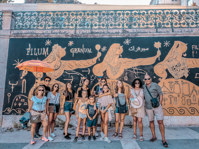 Free Lisbon Walking Tour Group in front of mural