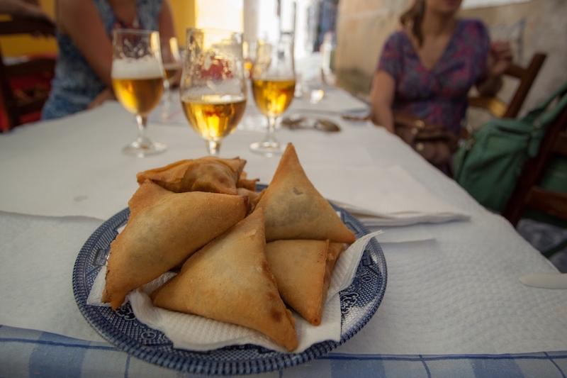 A plate of Portuguese Samosas