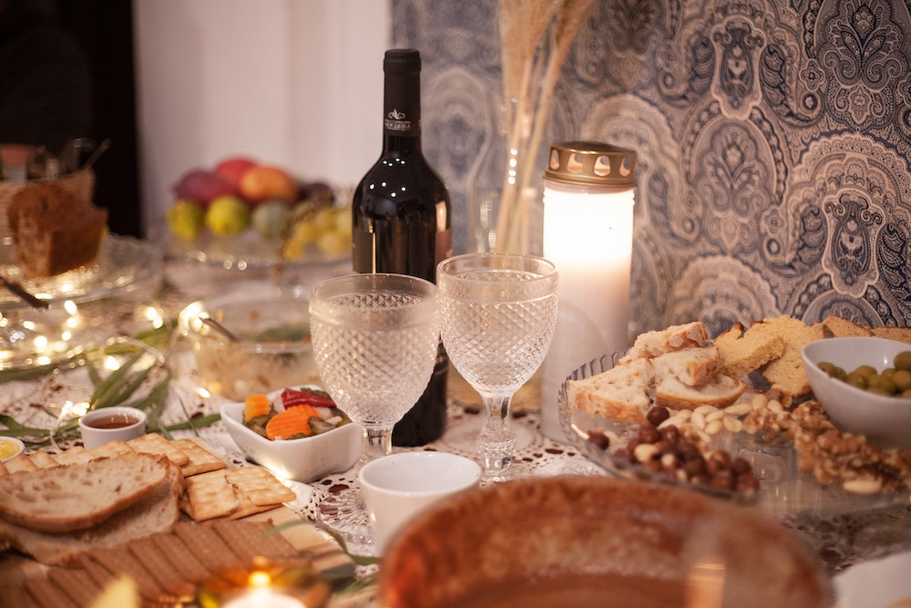 Table set with food and wine