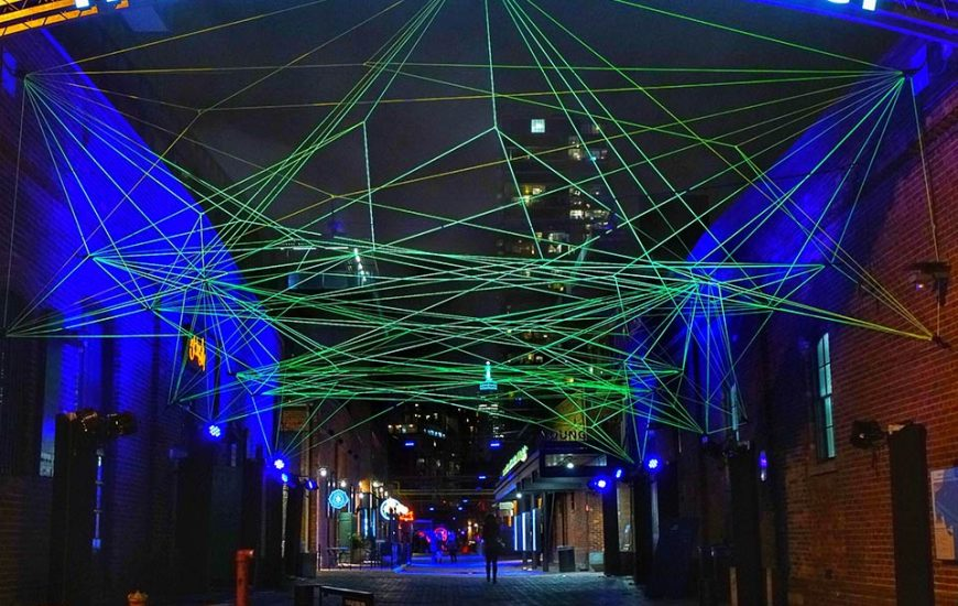 laser beams form part of the toronto light festival at the distillery district this winter