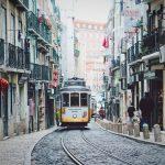 Lisbon street scene with street car